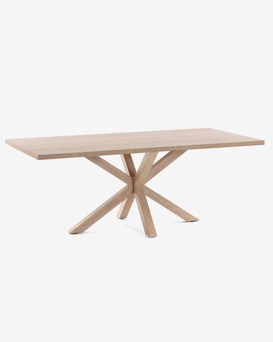 Mesa Argo 160 x 100 cm melamina acabado natural patas de acero efecto madera