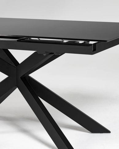 Atminda ausziehbarer Tisch 160 (210) x 90 cm aus Glas und schwarzen Stahlbeinen