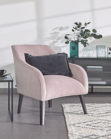 Fauteuil Bobly roze corduroy poten met wengé afwerking
