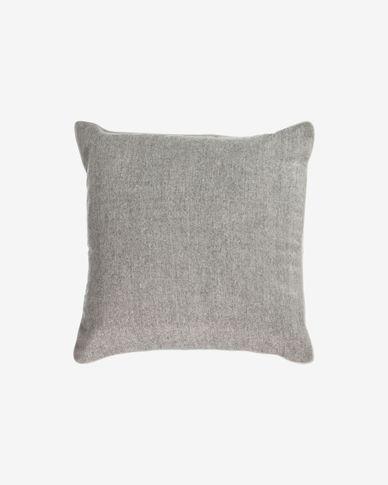 Poszewka na poduszkę Alcara szara z białym obramowaniem 45 x 45 cm