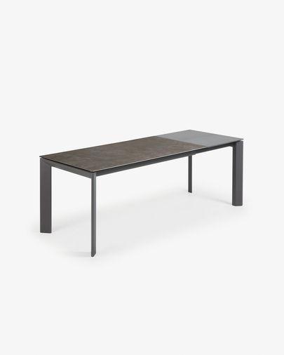 Axis ausziehbarer Tisch 160 (220) cm, Porzellan, Vulcano Esche Finish, anthrazit Beine