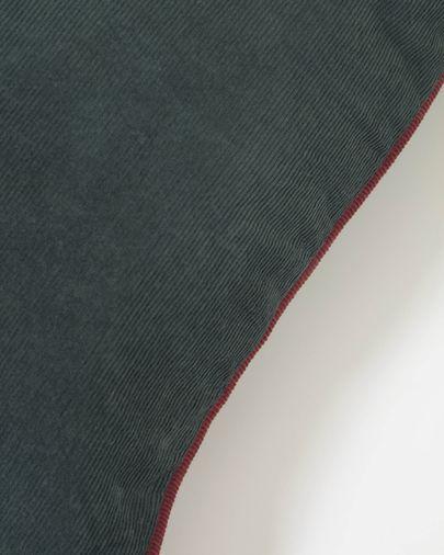 Funda cojín Kelaia 100 % algodón pana verde y borde naranja 45 x 45 cm