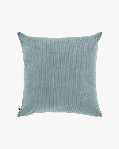 Fodera cuscino Namie 60 x 60 cm velluto a coste turchese