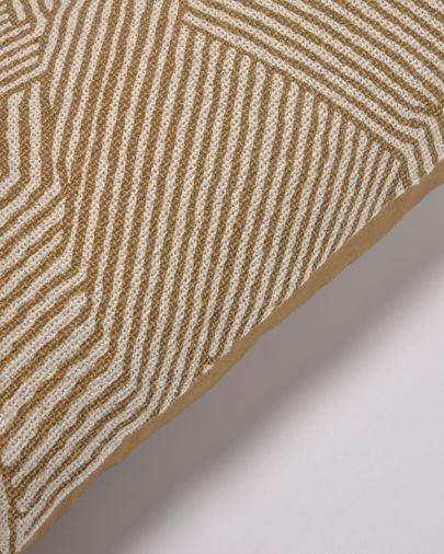 Poszewka na poduszkę Devi bawełna i len paski beżowo-brązowe 30 x 50 cm