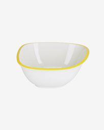 Bol grande Odalin porcelana blanco y amarillo