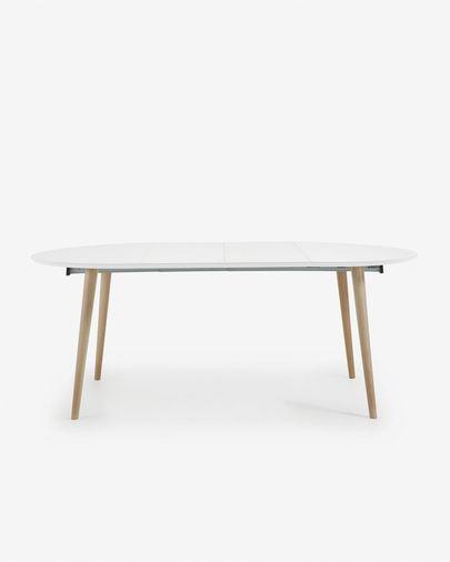 Mesa extensible redonda Oqui 120 (200) x 120 cm blanco