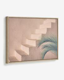Quadro Lucie escada cimento castanho 50 x 70 cm