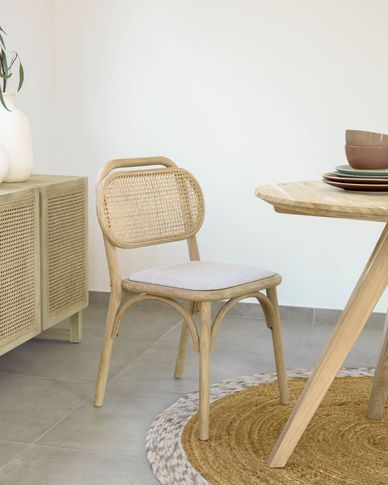 Doriane solid oak chair with natural finish and upholstered seat