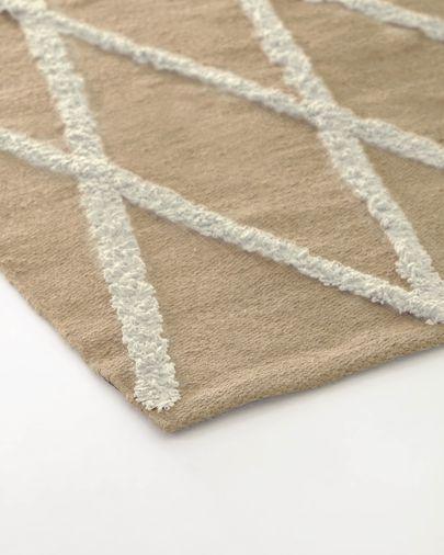 Alfombra Abena de yute y algodón natural y blanco 70 x 140 cm