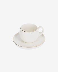 Taza de café Taisia con plato de porcelana blanco
