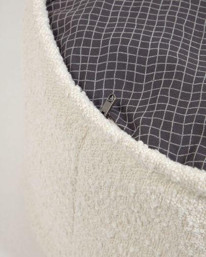 Adara white sheepskin pouffe, Ø 50 cm