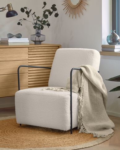 Gamer armchair white shearling effect and metal with black finish