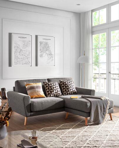 3-zitsbank Narnia chaise longue donkergrijs 192 cm