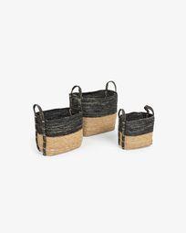 Set Kysna de 3 cestas gris oscuro y marrón