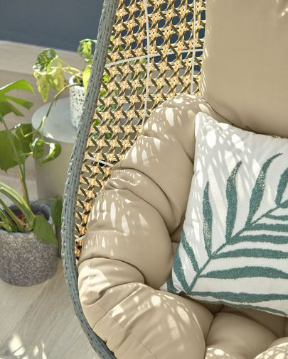 Amorela 100% cotton cushion cover with green embroidered leaf 45 x 45 cm
