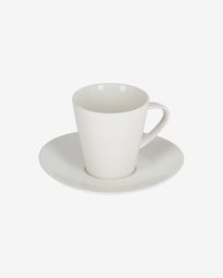 Pierina large porcelain coffee cup and saucer in white