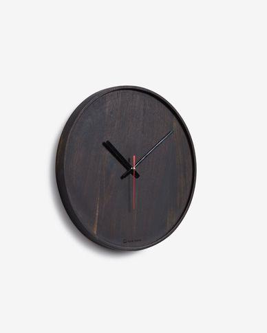 Reloj de pared redondo Zakie de madera maciza de acacia acabado negro Ø 30 cm