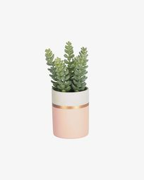 Planta artificial Sedum lucidum con maceta de cerámica rosa 19 cm