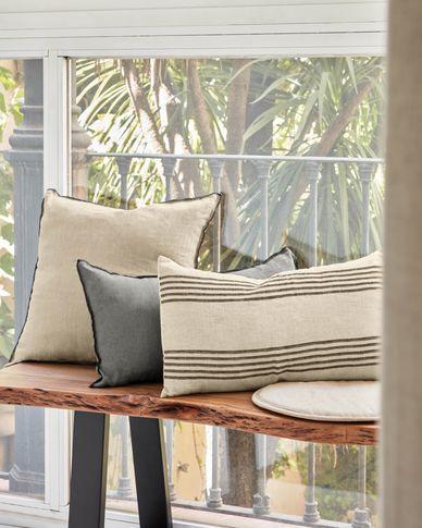 Ernestina 100% linen cushion cover with black stripes 30 x 50 cm