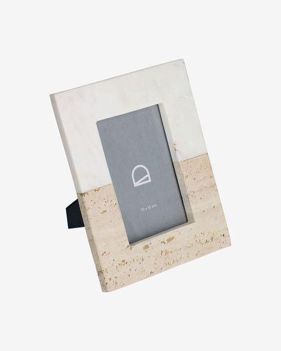 Fotolijst Uria in wit marmer en beige steen 23 x 18 cm