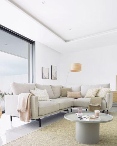 Galene 3-seater corner sofa in beige, 267 x 207 cm