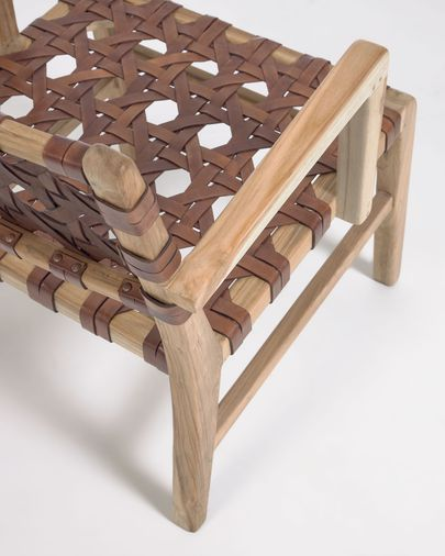 Butaca Nuru fusta massissa teca i cuir