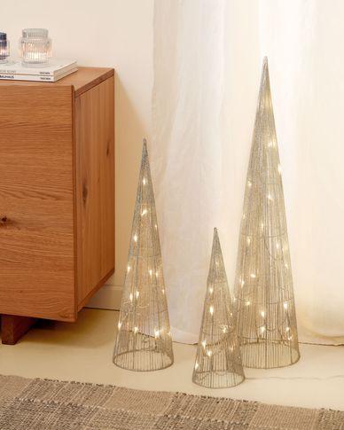 Lichtgevende kerstbomen Marleen set van 3 in grijs - 40 cm 60 cm 80 cm