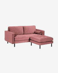 Debra pink velvet 2-seater sofa with pouf 182 cm