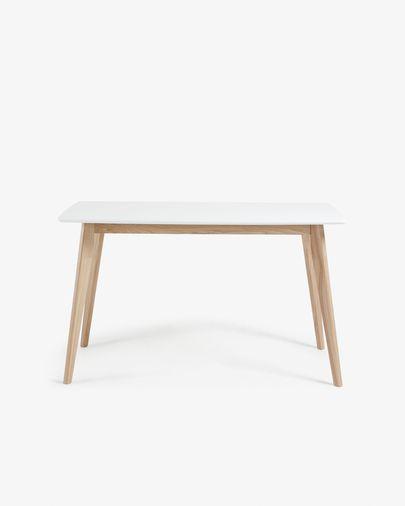 Mesa Anit 140 x 80 cm lacado blanco patas madera maciza de fresno