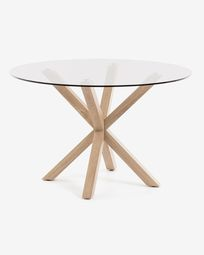 Full Argo round Ø 119 cm glass table with steel legs with wood-effect finish