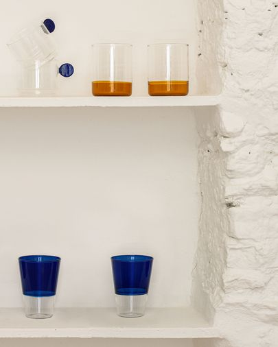 Vaso Diara vidrio transparente y azul
