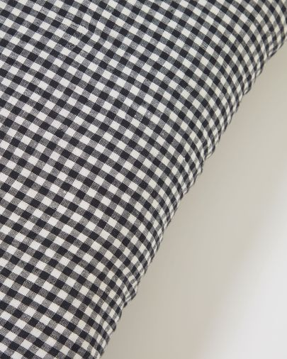 Hilaria 100% linen cushion cover in black and white check 45 x 45 cm