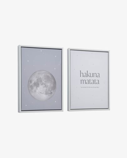 Set Ludmila de 2 quadros lua cinzento