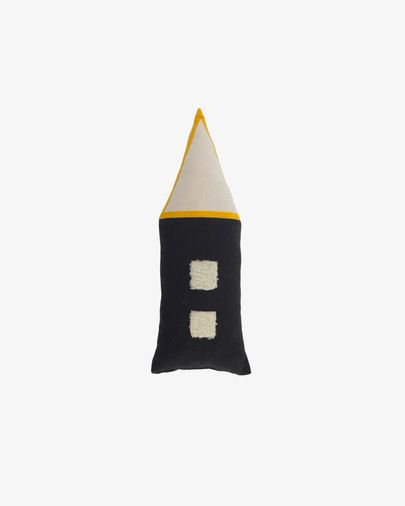 Coixí casa Nisi 100% cotó orgànic (GOTS) negre i beix 35 x 13 cm