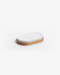 Elora white and beech soap dish