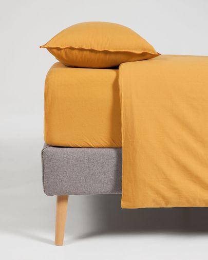 Set Ibelis drap-housse,housse couette,taies oreiller en coton bio (GOTS)180x200cm moutarde
