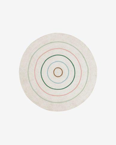 Daiana round cotton rug, beige and multicolour Ø 120 cm