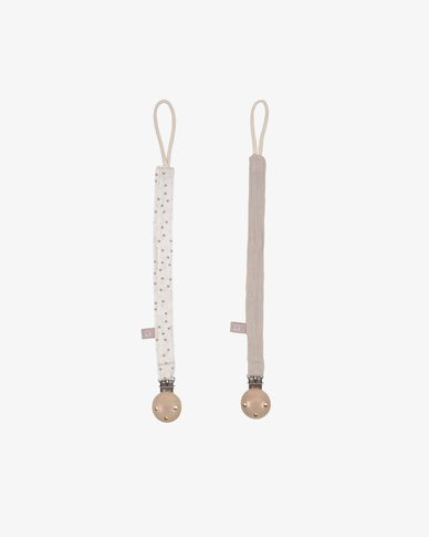 Set of two 100% organic cotton (GOTS) Maren dummy clips in beige and pink polka dots