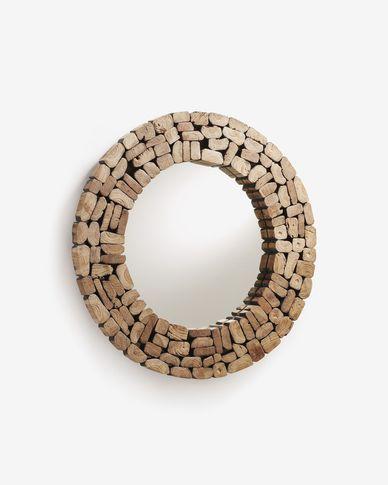 Espejo Eliptic de madera maciza de teca Ø 80 cm