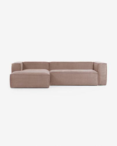 Sofa 3-osobowa Blok z szezlongiem z lewej strony z rózowego sztruksu 300 cm