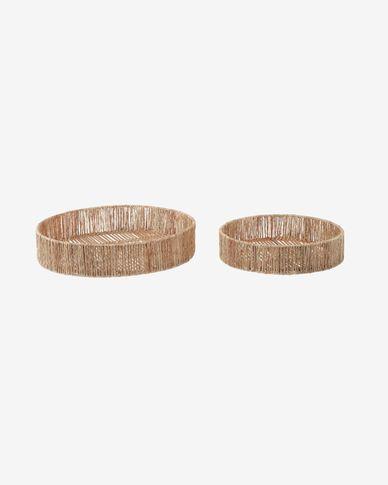 Set Estibalis de 2 bandejas redondas de ratán y yute con acabado natural