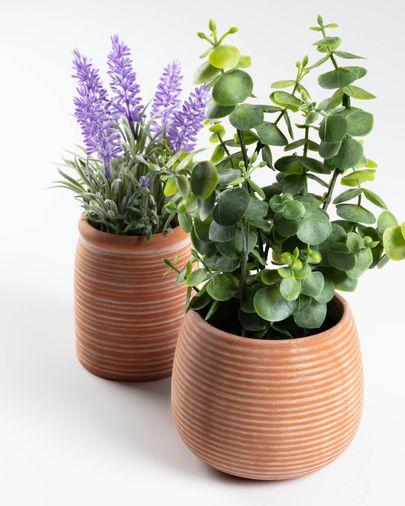 Eucalyptus artificielle en pot marron