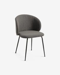 Krzesło Minna ciemnoszare i stalowe nogi z czarnym wykończeniem