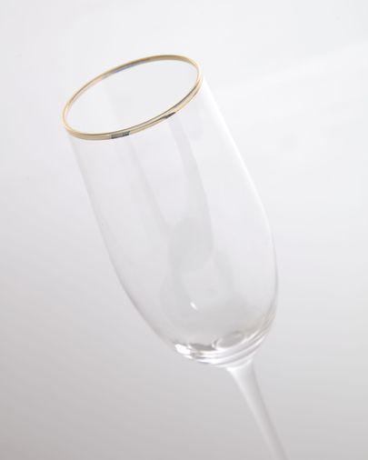Copa de cava Rasine de cristal transparente y detalle dorado 20 cl