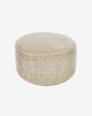 Lillii round PET pouffe in beige Ø 70 cm
