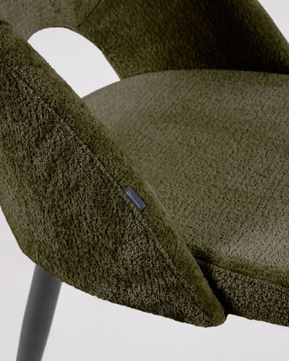 Green chenille Mael chair with steel legs with black finish