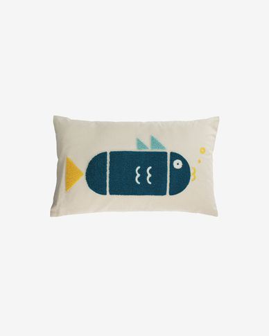 Samudra 100% cotton multi-coloured cushion cover with fish 30 x 50 cm