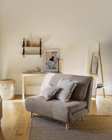 Keren sofa bed in grey corduroy 106 cm