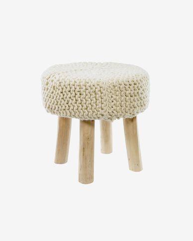 Beneda 100% wool footstool in white Ø 40 cm
