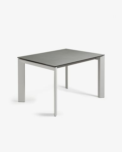 Table extensible Axis 120 (180) cm grès cérame finition Hydra Plomb pieds gris